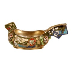 A Russian gilded silver and shaded cloisonné enamel dragon kovsh by Ruckert