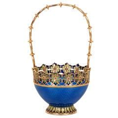 Art Nouveau Antique Norwegian Plique-à-jour Enamel Trinket Basket