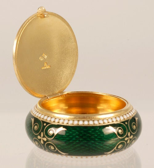Women's or Men's GRACHEV Green Guilloche Enamel Circular Box For Sale