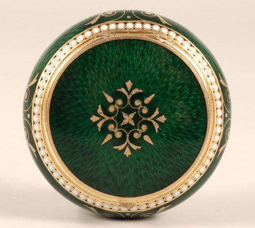 GRACHEV Green Guilloche Enamel Circular Box For Sale 1