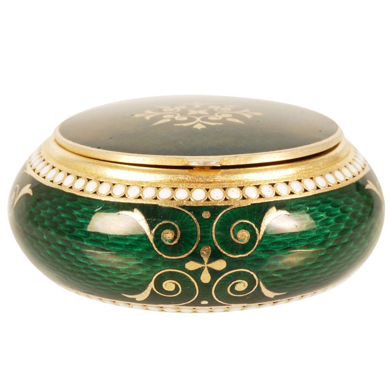 GRACHEV Green Guilloche Enamel Circular Box For Sale