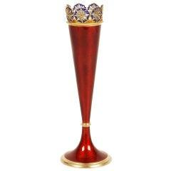DAVID ANDERSEN Plique-a-jour and Red Enamel Vase