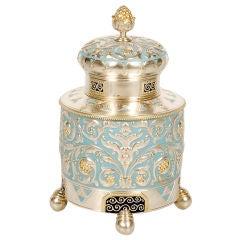 FABERGÉ Silver and Enamel Tea Caddy
