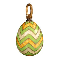 Antique Russian Gold and Guilloché Enamel Miniature Pendant Easter Egg