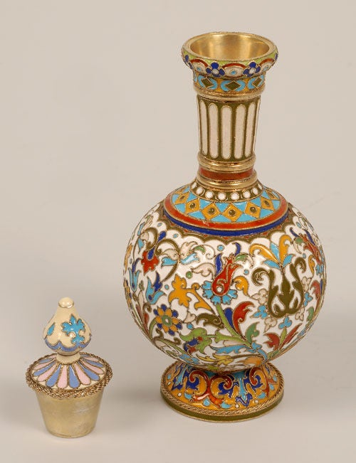 Russian Revival Rare Early Antique Russian Cloisonné Enamel Standing Perfume Flask by Rückert  For Sale