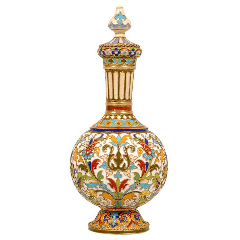 Rare Early Antique Russian Cloisonné Enamel Standing Perfume Flask by Rückert  For Sale