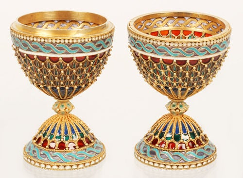 Rare Russian Antique Plique-à-Jour Enamel Easter Egg Converting to Egg Cups In Excellent Condition In Redmond, WA