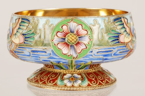 Russian Revival Russian Imperial Silver and Shaded Enamel Master Salt with Birds by Rückert For Sale