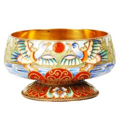 Russian Imperial Silver and Shaded Enamel Master Salt with Birds by Rückert
