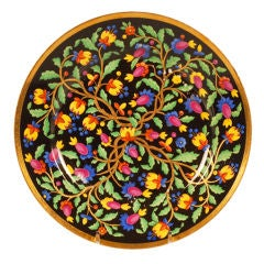 Antique Russian Imperial Porcelain Plate with Persian-Inspired Floral Decoration