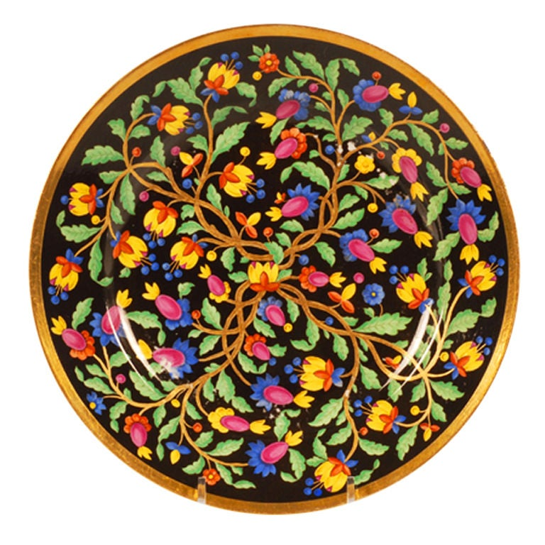 Antique Russian Imperial Porcelain Plate with Persian-Inspired Floral Decoration For Sale