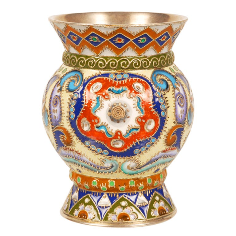 Russian Antique Art Nouveau Shaded Enamel Beaker by Feodor Rückert