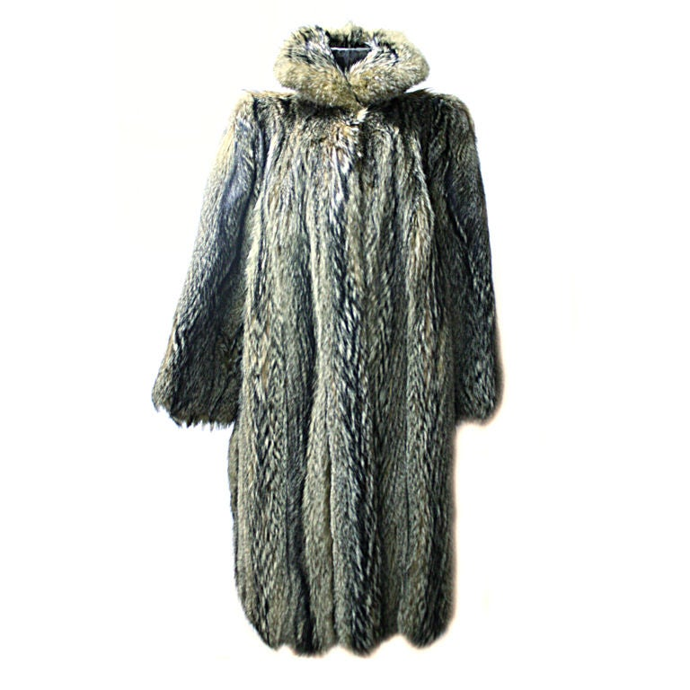 Canadian Coyote Full Length Vintage Fur Coat At 1Stdibs-8026