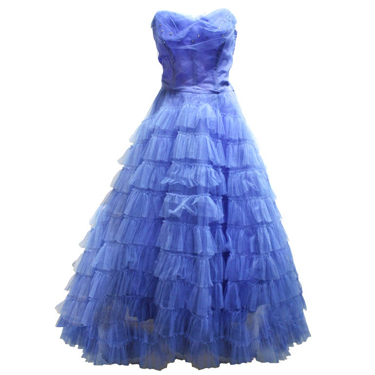 Alaia Azzedine Dresses >> 1950's Periwinkle Blue Debutante Prom Dress at 1stdibs