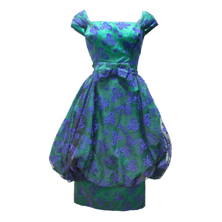 1950 S Vintage Velvet Brocade Bubble Cocktail Dress At 1stdibs