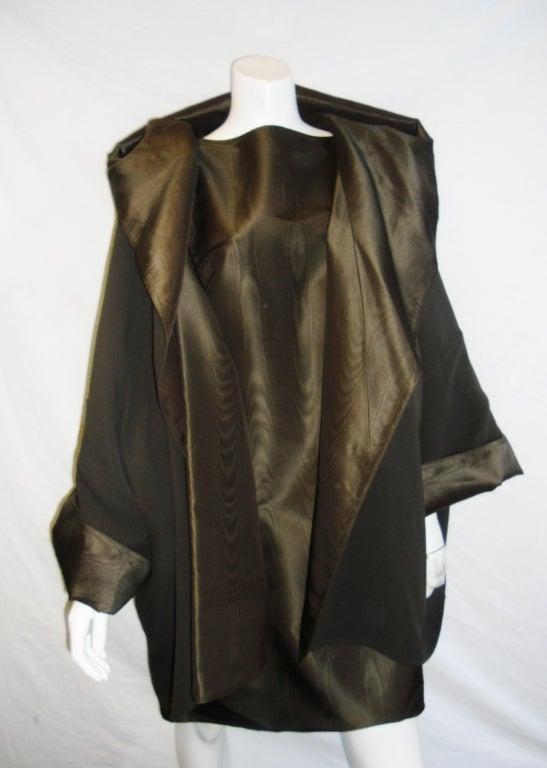 Zoran silk sheath dress with revesible hooded coat at 1stdibs