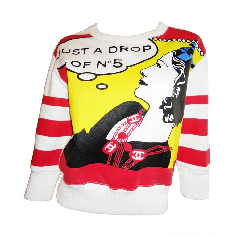 Quot Just A Drop Of No 5 Quot Chanel Sweatshirt Top Coll 2001 At 1stdibs