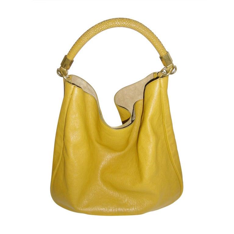 Ysl Roady Hobo Bag Mustard Gold Color Stingray Strap At