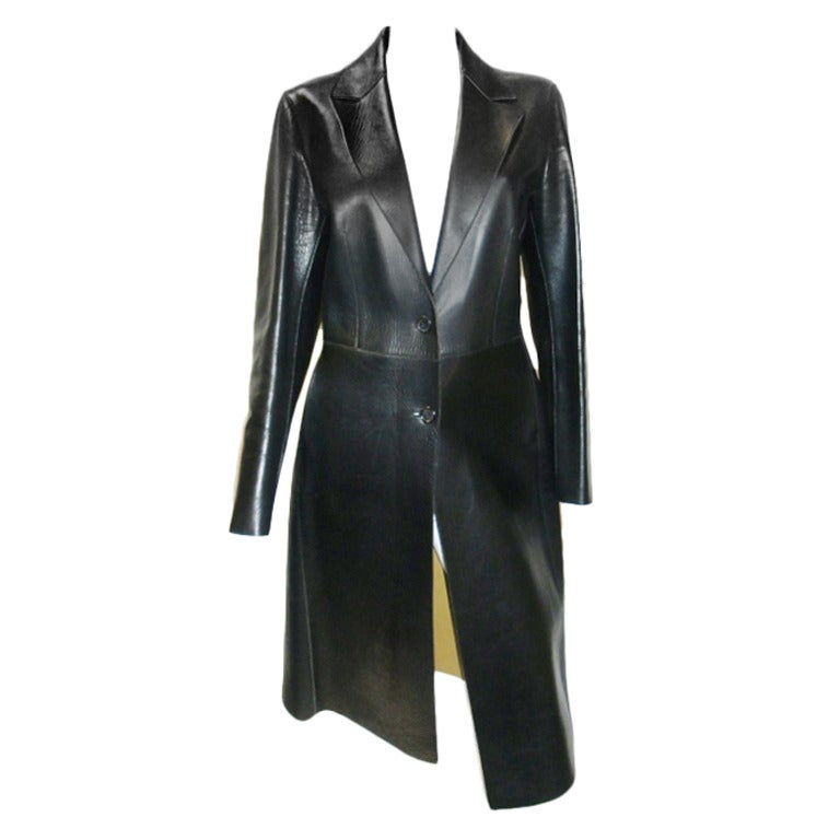 Prada Black Leather Coat at 1stdibs
