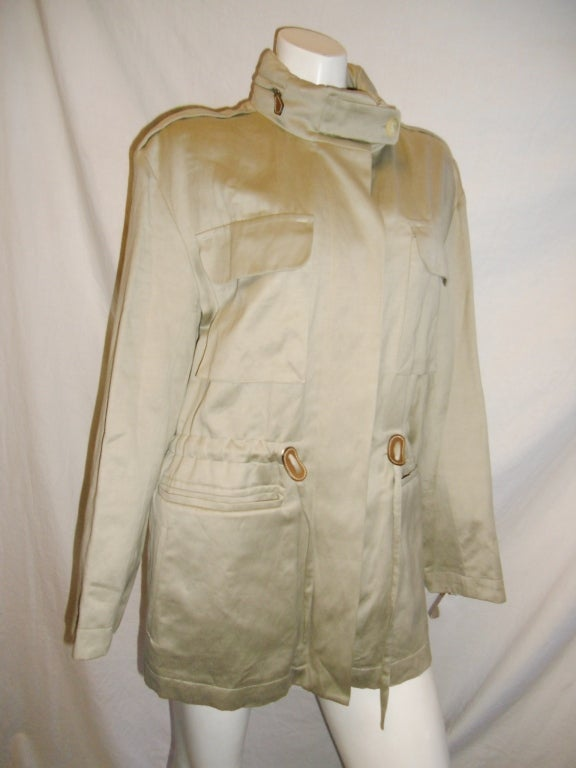 Hermes Hooded Safari Jacket With Leather Details At 1stdibs