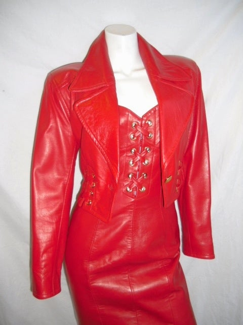 Spectacular North Beach Leather Lace Up Red Dress And
