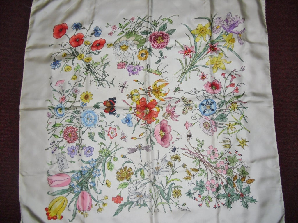 gucci white floral silk scarf at 1stdibs