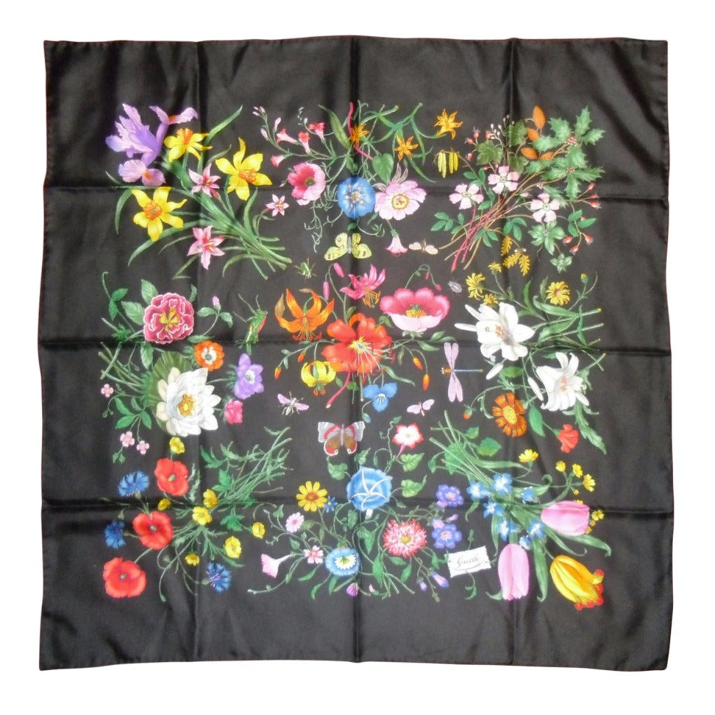 gucci floral silk scarf at 1stdibs