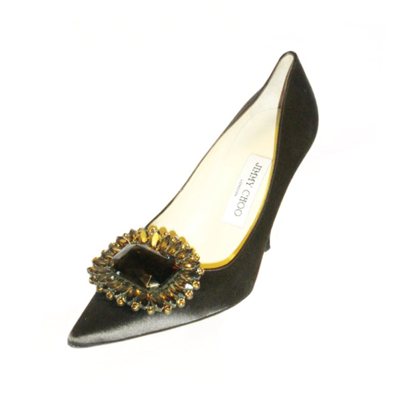 New jimmy choo silk evening shoes with smokey topaz at 1stdibs for Jimmy s fine jewelry