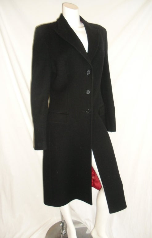 Dolce and Gabbana Black Talored wool Coat with Red Lining For Sale ...