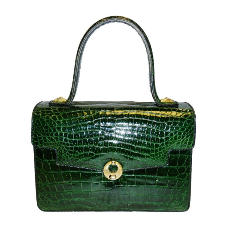 Vintage Aries Baby Alligator Emerald Green Bag Purse At