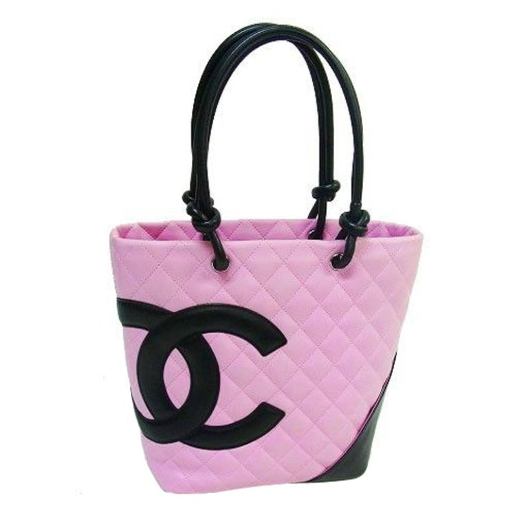 chanel ligne cambon pink and black quilted tote bag