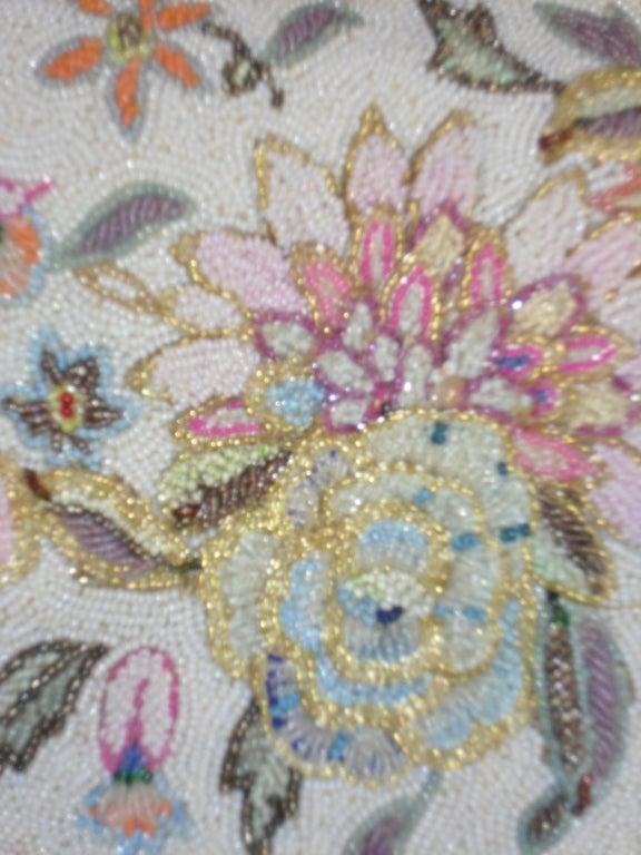 Vintage Pastel colors floral micro beaded bag circa 1960 3