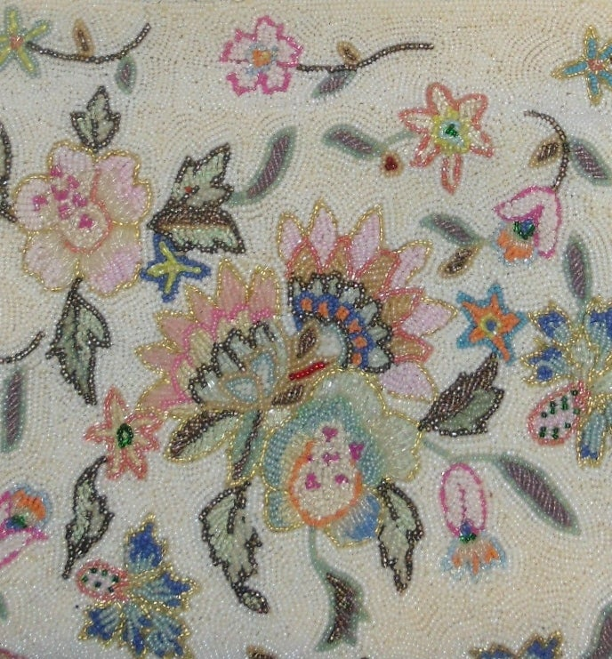 Vintage Pastel colors floral micro beaded bag circa 1960 4
