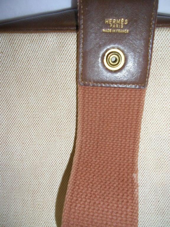Hermes Vintage Natural Canvas and brown Leather Trim Shoulder ...