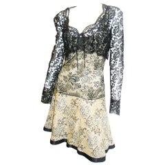 One of a kind Galanos silk/ lace cocktail  dress with lace Bolero