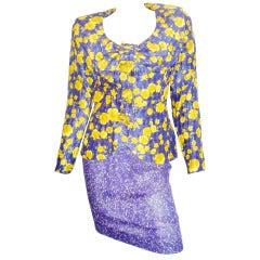 Galanos Silk chiffon  roses print skirt suit