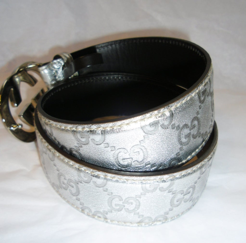 Gucci Metallic Silver Guccissima Leather Belt Gg Buckle At