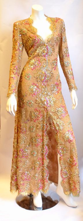 Chanel 1996 Haute Couture Gold Lace gown 2