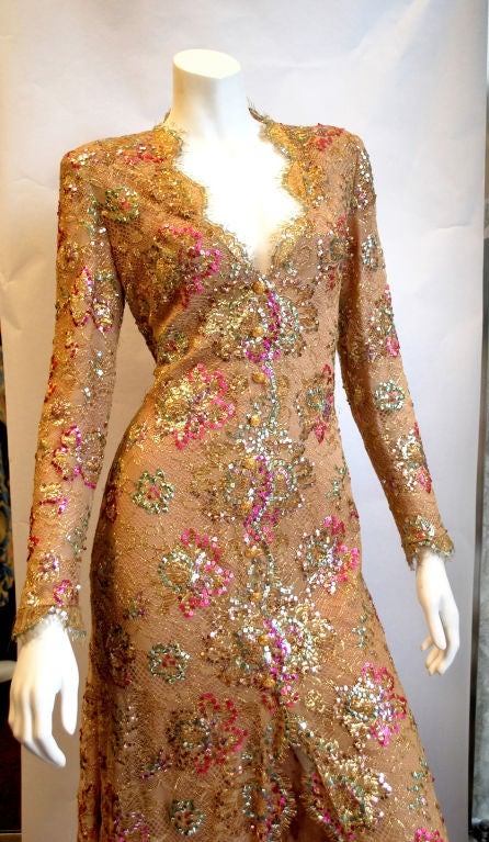 Chanel 1996 Haute Couture Gold Lace gown 3