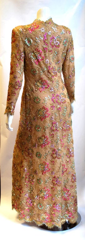 Chanel 1996 Haute Couture Gold Lace gown 4