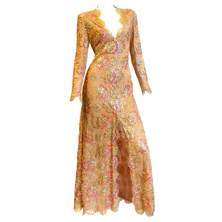 Chanel 1996 Haute Couture Gold Lace gown 1