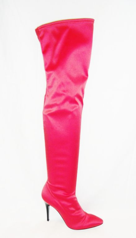 Escada   Hot Pink Thigh High Satin  Boots valentines  Special image 2