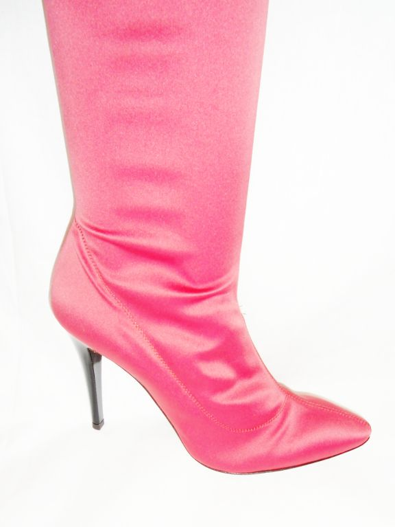 Escada   Hot Pink Thigh High Satin  Boots valentines  Special image 3