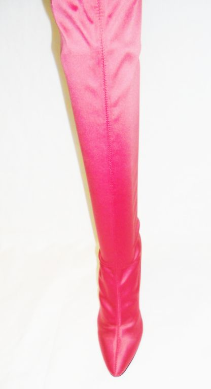 Escada   Hot Pink Thigh High Satin  Boots valentines  Special image 4