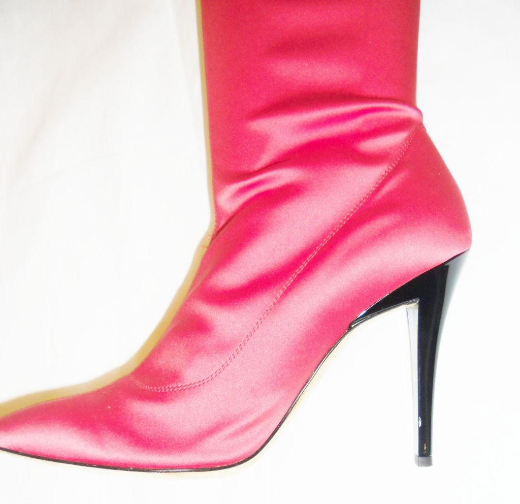 Escada   Hot Pink Thigh High Satin  Boots valentines  Special image 5