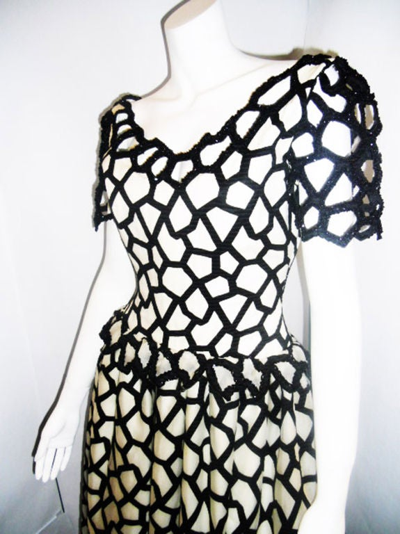 Angel Sanchez  Couture Black And White Ball Gown In Excellent Condition For Sale In New York, NY