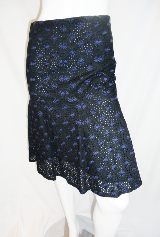 CHANEL black  cotton eyelet embroidered  skirt  38 2