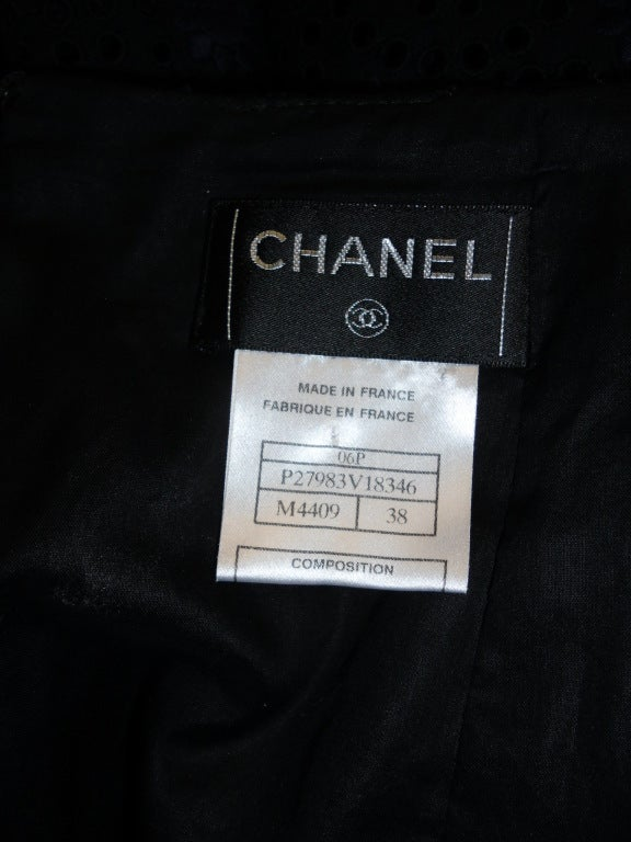 CHANEL black  cotton eyelet embroidered  skirt  38 7