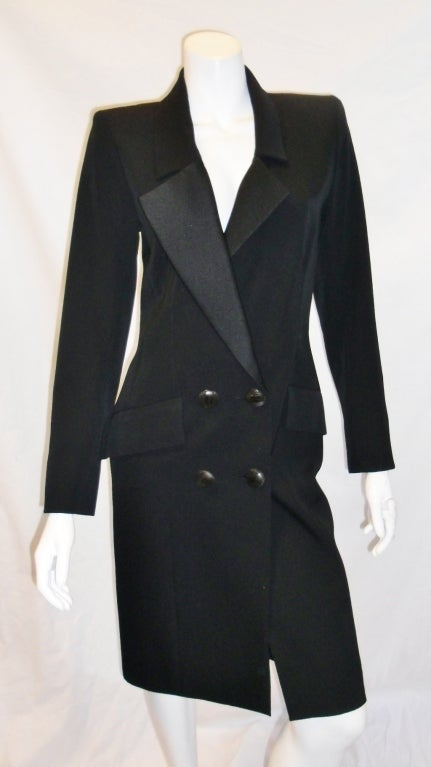 Yves Saint Laurent Haute Couture Tuxedo Coat Dress C 1980 At 1stdibs