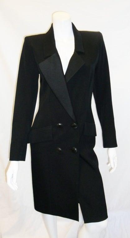 Yves Saint Laurent Haute Couture Tuxedo Coat dress c. 1980 image 3